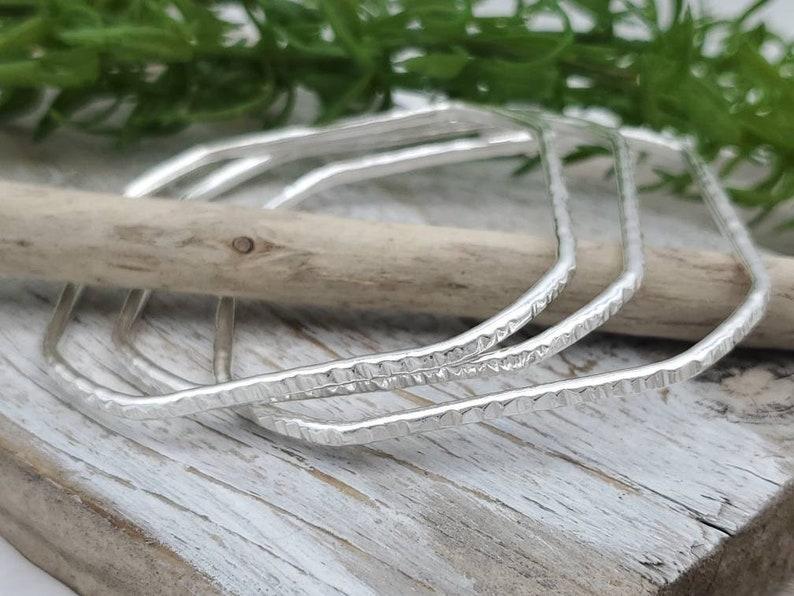 Sterling Silver Bangle Bracelet / Square / Hammered image 0