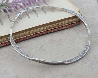 Rustic Sterling Silver Hammered Bangle Bracelet