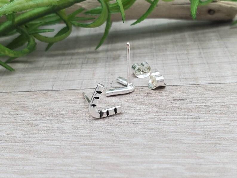 Small Sterling V Stud Earrings / Boho / Gypsy image 0