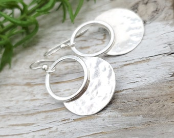 Sterling Hammered Disc Hoop Earrings