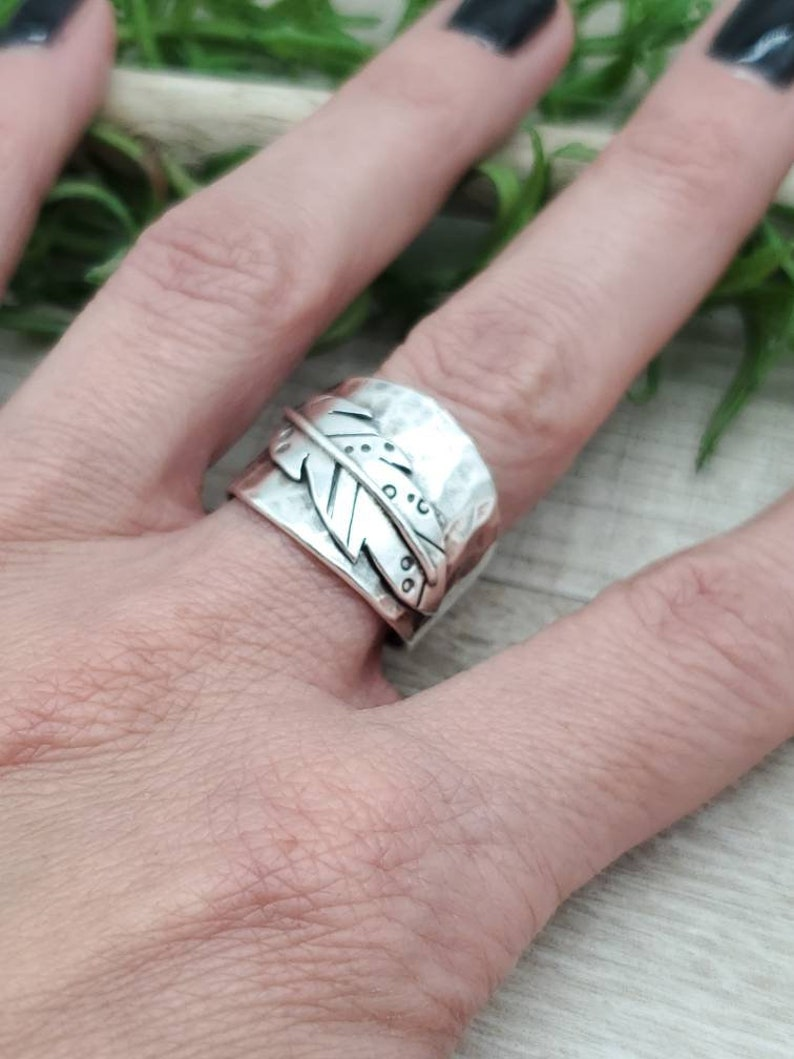 Sterling Feather Saddle Band Feather Ring / Bobo / Tribal image 0
