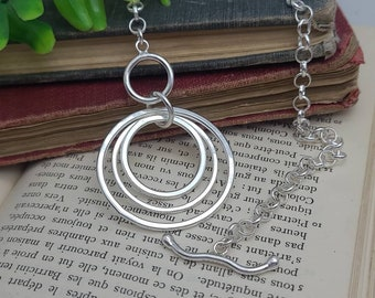 Large Chunky Sterling Silver Circle Front Clasp Necklace / Hammered Disc