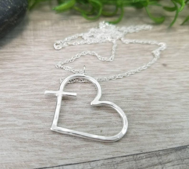Sterling Silver Hammered Heart/Cross Necklace Endless image 0