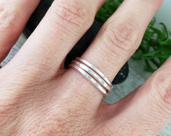 Sterling Silver Stacker Rings / Set of 3 /  Hammered Rings / Hammered Band