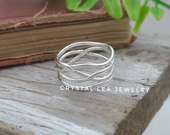 Sterling Silver Wrap Ring / Continuous /  Wide Band / Filigree / Statement / Organic