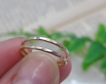 Gold Hammered Thin Stacker Ring / Gold Band