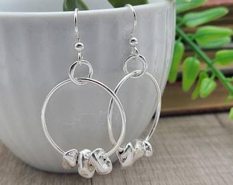 Sterling Silver Pebble Hoop Earrings / Rocks / Nature Lover