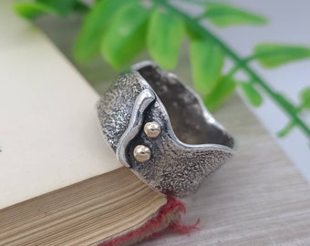 Sterling Silver & Solid Gold Luna Fire Ring / One of a Kind / Solitaire / SIZE 7 1/2
