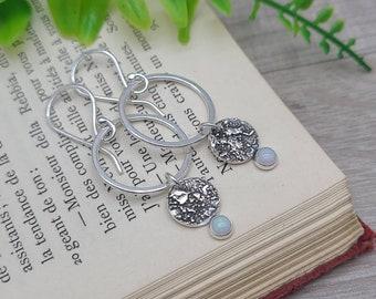 Sterling Silver Opal Earrings / Sterling Circle Earrings / Ornate