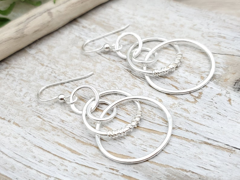 Sterling Silver Wire Wrapped Hoop Earrings / Multi Circle  / image 0