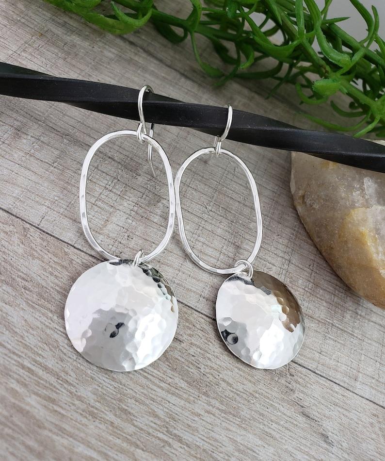Large Hammered Disc Earrings / Sterling Disc Earrings / Long image 0