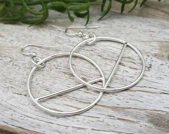 Sterling Silver Circle Hoop Earrings / Geometric / Dangle / Bar