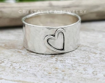 Sterling Open Heart Ring / Wide Band