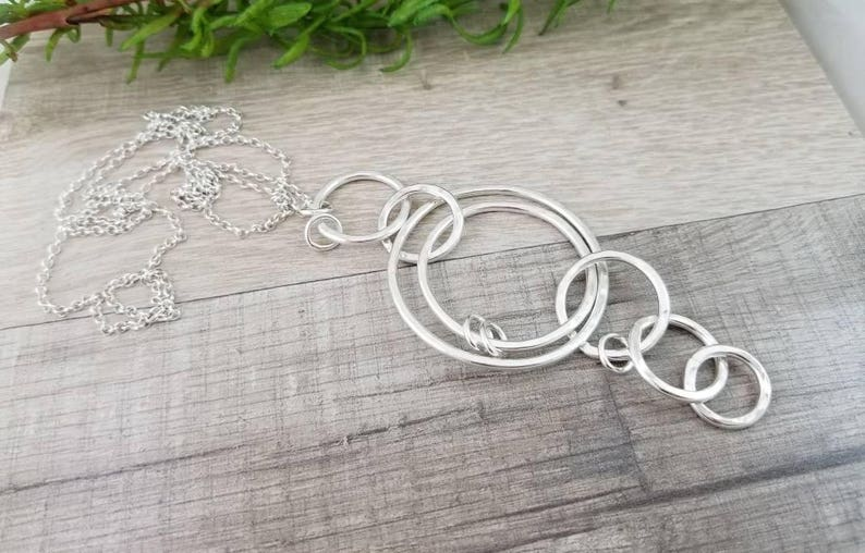 Long Sterling Silver Circle Ring Necklace / Multi Circle image 0