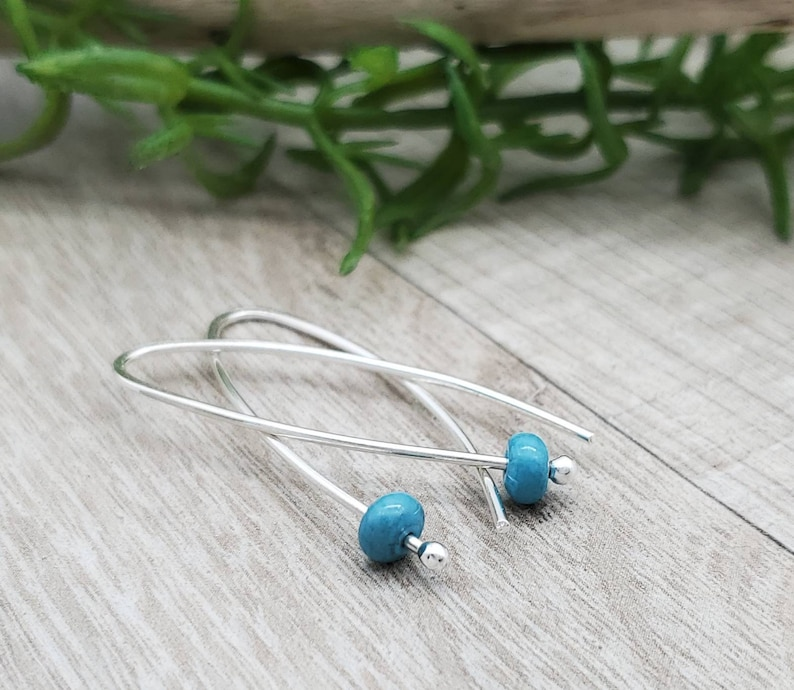 Sterling Silver & Turquoise Threader Earrings image 0