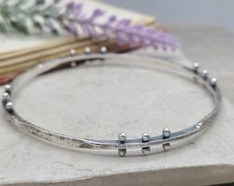 Rustic Sterling Silver Bangle Bracelet / Hammered /