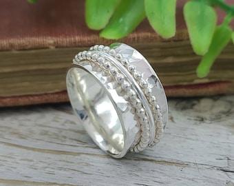 Sterling Silver Spinner Ring / Fidget Ring / Meditation Ring / Wide Band Ring