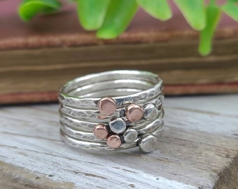 Sterling Silver and Copper Stacker Ring Set