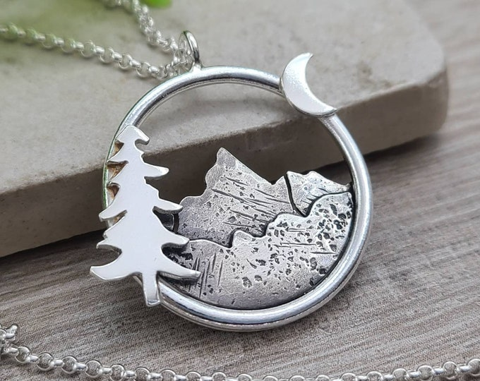 Featured listing image: Sterling Silver Mountain Necklace / Nature  / Mountain Scene / Hiker / Camper