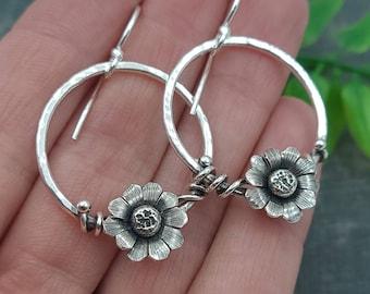Sterling Silver Wildflower Hoop Earrings / Flower / Daisy / Boho
