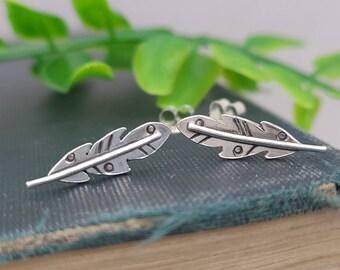 Sterling Silver Gypsy Feather Stud Earrings / Feather Earrings / Climber Earrings / Gypsy / Tribal