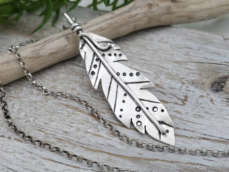 Sterling Silver Long Boho Feather Necklace image 0