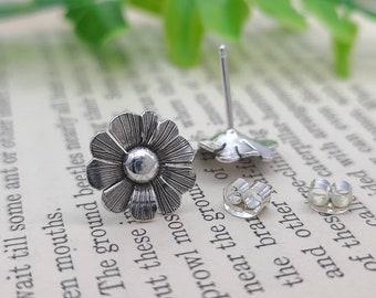 Sterling Silver Wildflower Stud Earrings / Daisy / Boho