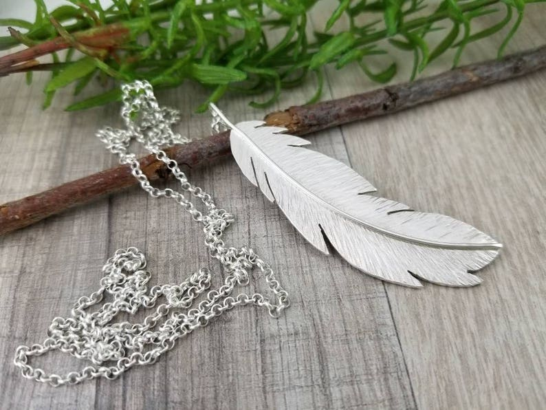 Sterling Long Feather Necklace / Long Silver Necklace / Hand image 0