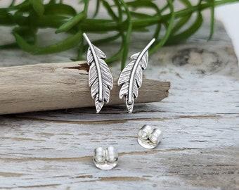 Sterling Silver Feather Stud Earrings / Feather Earrings / Climber Earrings / Post