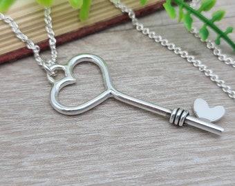 Sterling Silver Heart Skeleton Key Necklace