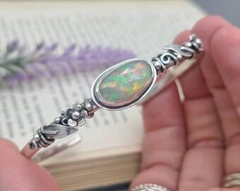 Sterling Silver Opal Cuff Bracelet