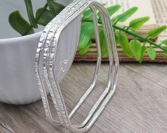 Sterling Silver Bangle Bracelet / Square / Hammered