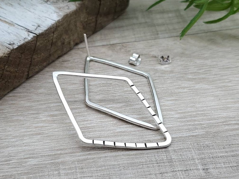 Sterling Silver Marquis Shaped Post Hoop Earrings image 0