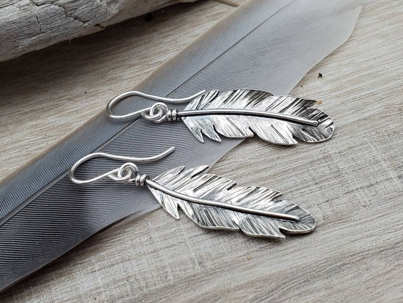 Sterling Silver Feather Earrings / Nature lover image 0