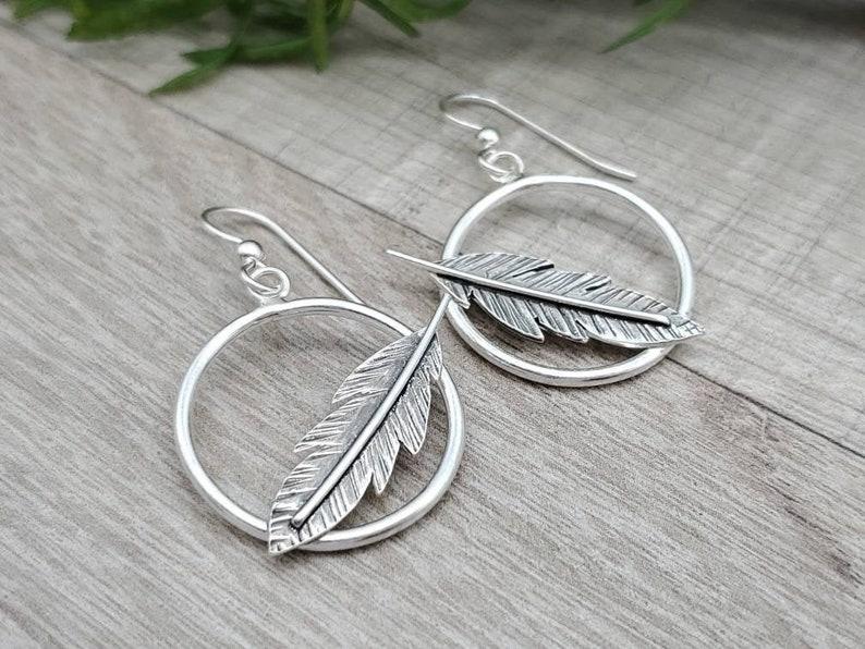 Sterling Silver Feather Hoop Earrings image 0