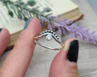 Sterling Silver Crown Ring / Chevron