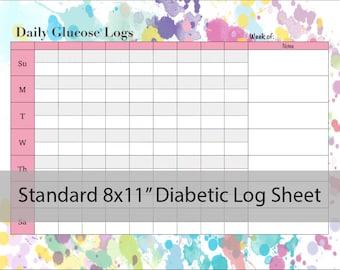 diabetic log etsy