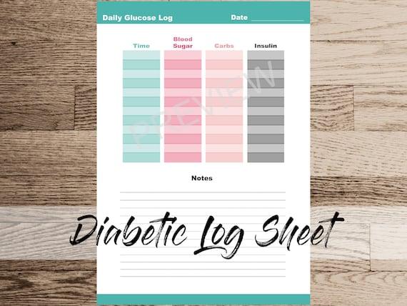 daily diabetic glucose log sheet daily blood sugar tracker etsy