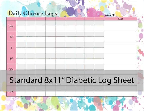 diabetic glucose log sheet printable pdf etsy