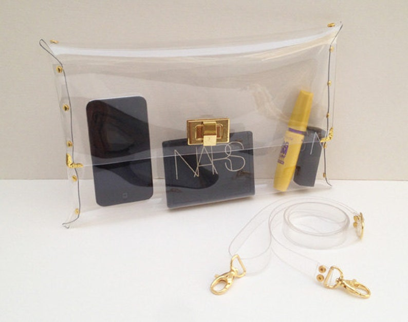 Deluxe Clear Clutch with Strap for shoulder Deluxe image 1