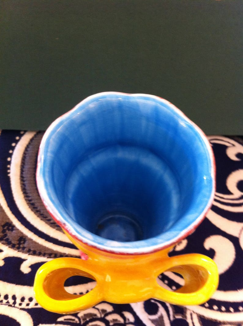 Perfect for Spring Blue Interior Bright Vase Orange With Yellow Bow 5 inches tall