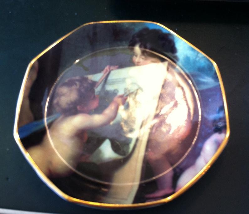Cherub Artist Sweet  5.5 Angelic Tray with Gold Trim Bone China Made in England