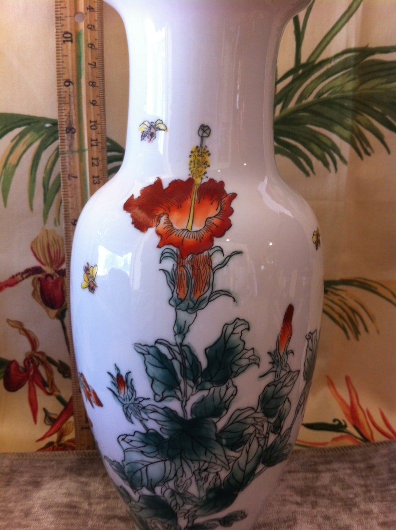Vase Vase A 10 inch Nora Fenton Designs Hand Decorated Porcelain Featuring Hibiacus Flowers and Bees