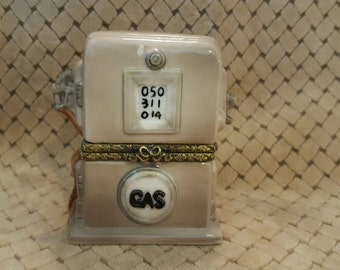 Trinket Box, Gas Pump Box, Porcelain Keepsake Box