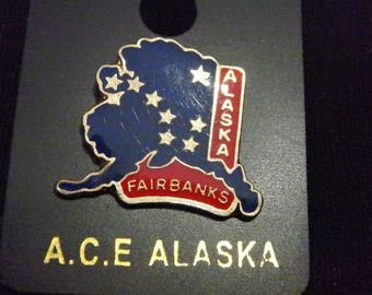 Vintage City Of Fairbanks Alaska Travel Souvenir Collector Pin State Map  Nos Lapel Pin