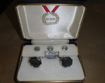 Mother of Pearl Early Vintage Hickok Tuxedo Studs in Original Celluloid Box