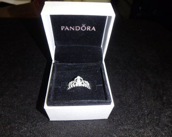 f16c7628b vintage pandora My Princess Stackable Ring size 5.5 Clear CZ sterling silver