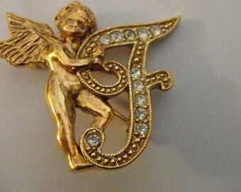 Antique gold tone F INITIAL  pin brooch with clear  rhinestones CHERUB ANGEL