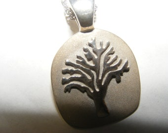 "tree of life  (strength)   pendant with chain 16"" sterling silver."