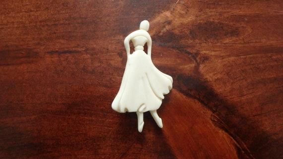 ballerina dancer celluloid carved brooch vintage
